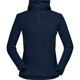 Norrøna Falketind Warmwool2 Stretch Zip Capuchon Trui Dames, indigo night